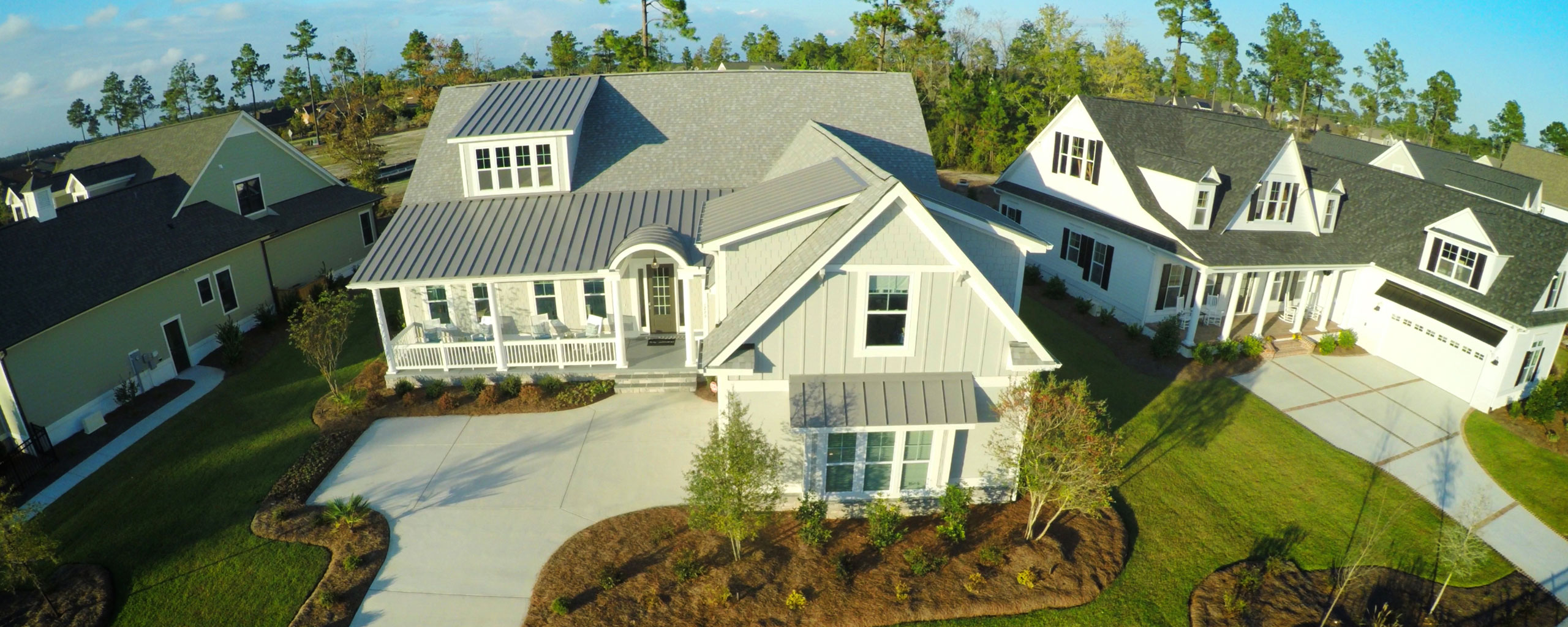 Aerial view of homes at Brunswick Forest