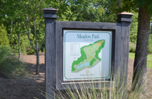 a map sign of Meadow Park at Brunswick Forest