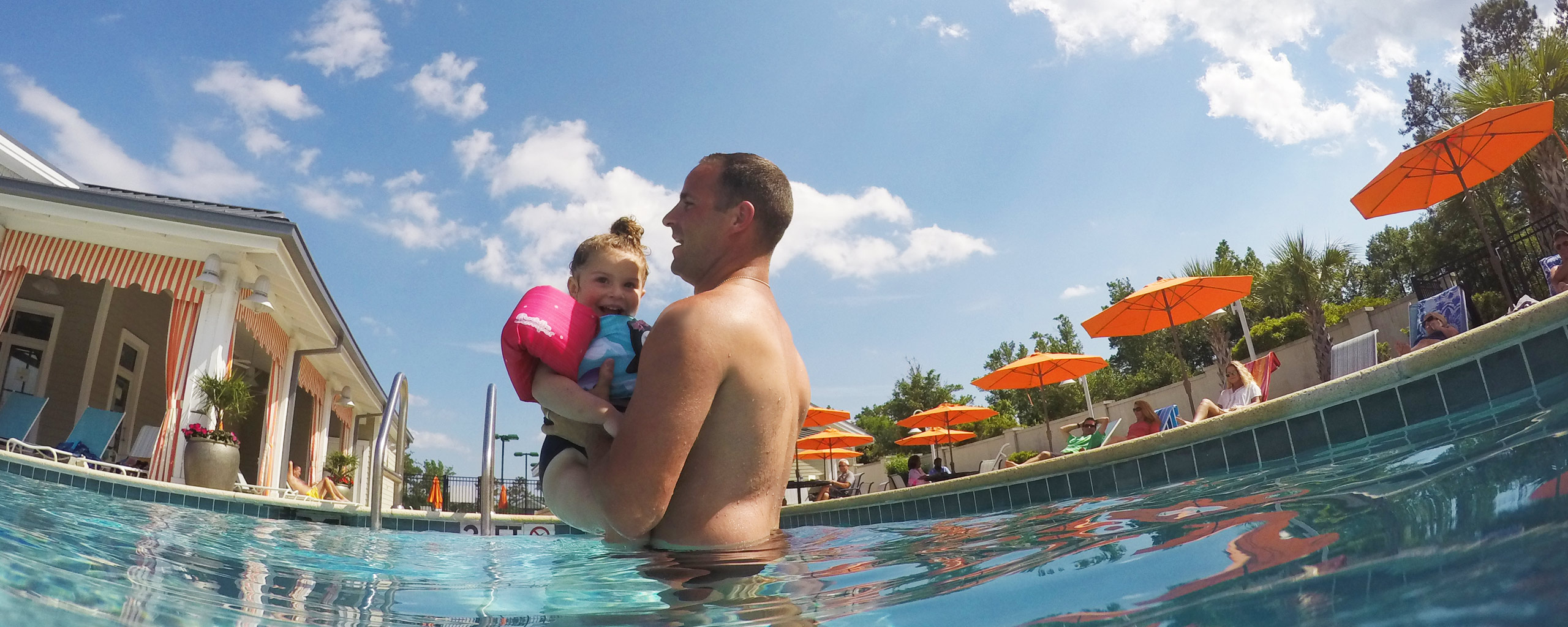 Brunswick Forest Pool Father and Daughter