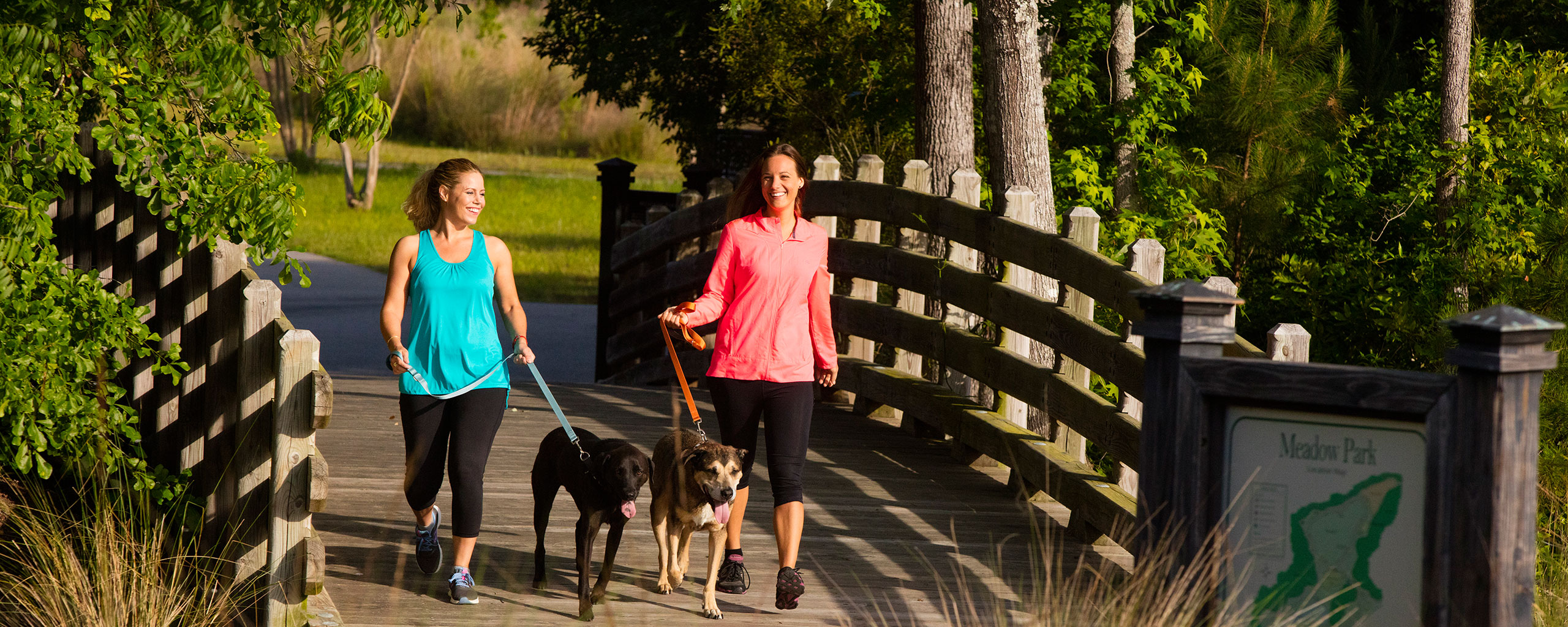 Ladies walking their dogs on the Walking and Biking trails