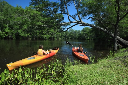 Two people kayaking at Brunswick Forest