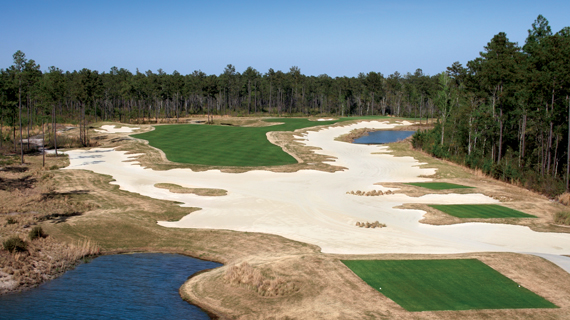 Aerial view of a hole at Cape Fear National