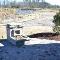 One of the two outdoor patios of the Jarrett Bay at Brunswick Forest