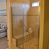 A walk-in shower in the Cooper at Brunswick Forest
