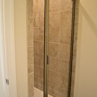 A walk-in shower in the Carot Bay at Brunswick Forest