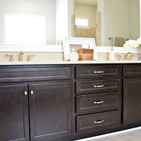 The master bathroom vanity in the Carot Bay at Brunswick Forest