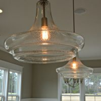 Edison bulbs in hanging lights in the Portsmith at Brunswick Forest