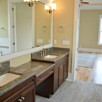 Double vanities in the master bath of the Portsmith at Brunswick Forest