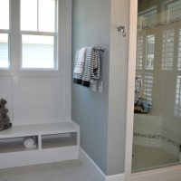 The master bath in the Lautner at Brunswick Forest