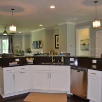 The kitchen island in the Heron II at Brunswick Forest