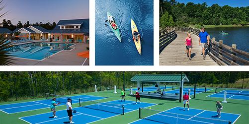 pool, pickleball, kayaking