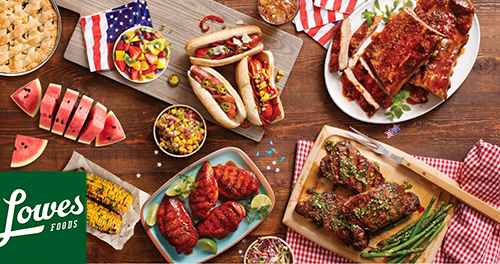 Summer Cookout Food-Covered Table for Lowes Foods Grilling in the Summer Blog